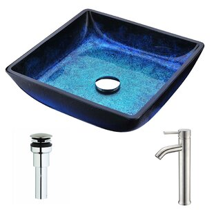 ANZZI Viace Glass Square Vessel Bathroom Sink with Faucet