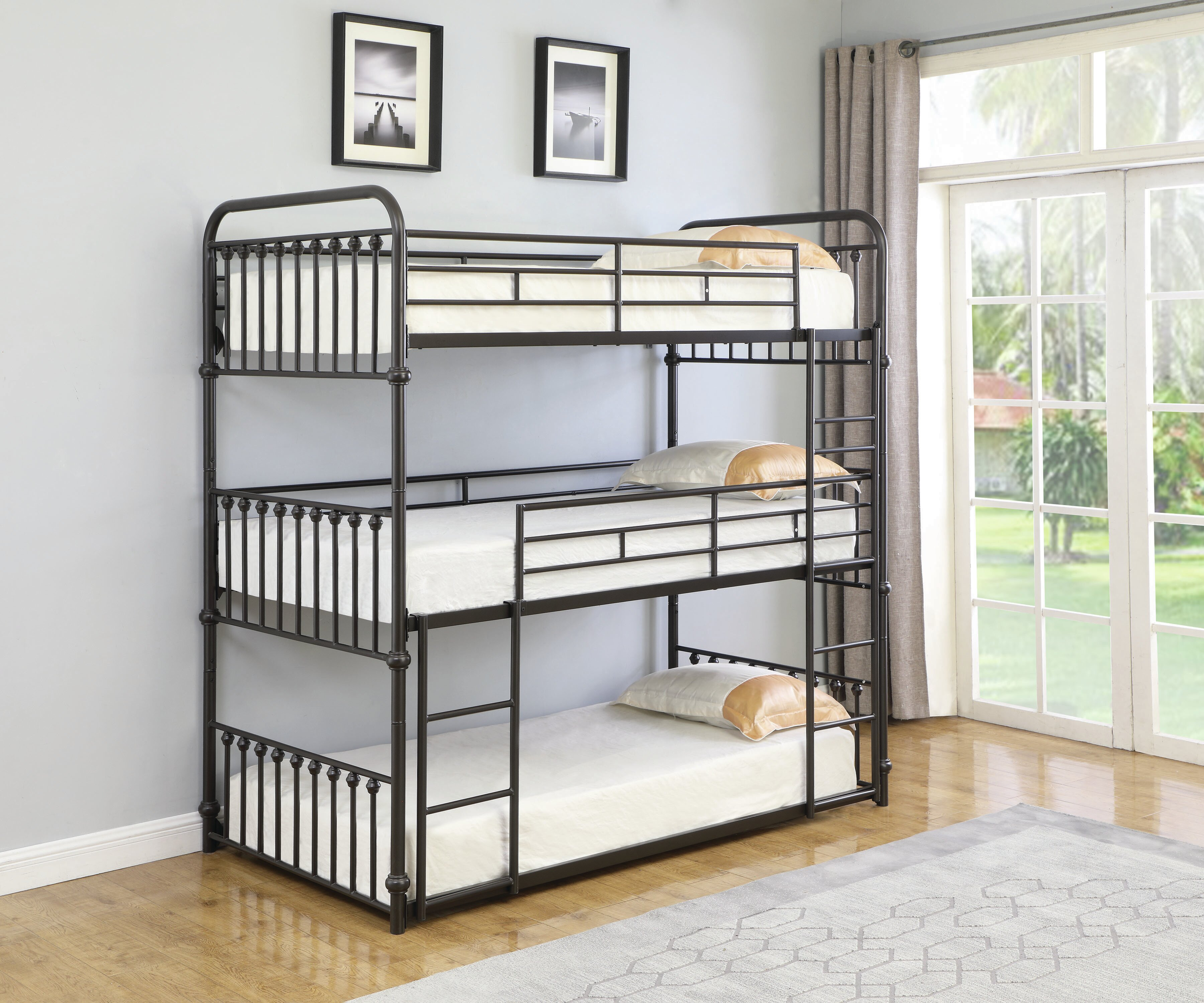 Image result for metal bed triple bunk bed