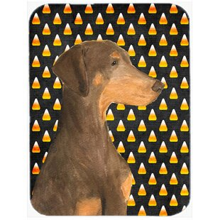 Review Halloween Candy Corn Doberman Portrait Glass Cutting Board By Caroline's Treasures