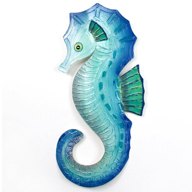 Home Accent Wood Sea Horse Wall Hanging Decor Nautical Ocean Beach Decoration Set of 2