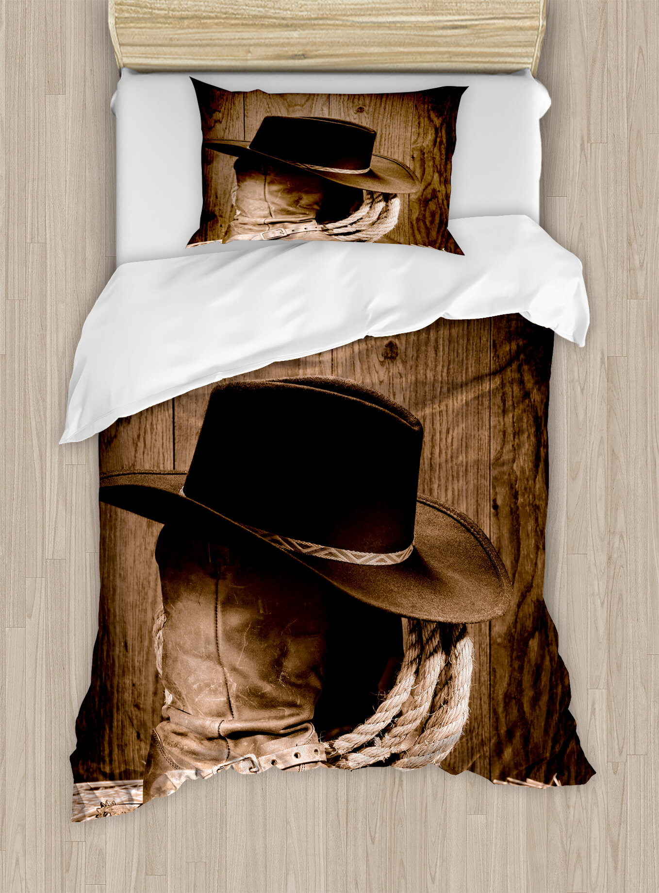 3c1d508bad0e3 Ambesonne Western Wild West Themed Cowboy Hat and Old Ranching Rope On  Wooden Display Rodeo Style Duvet Cover Set