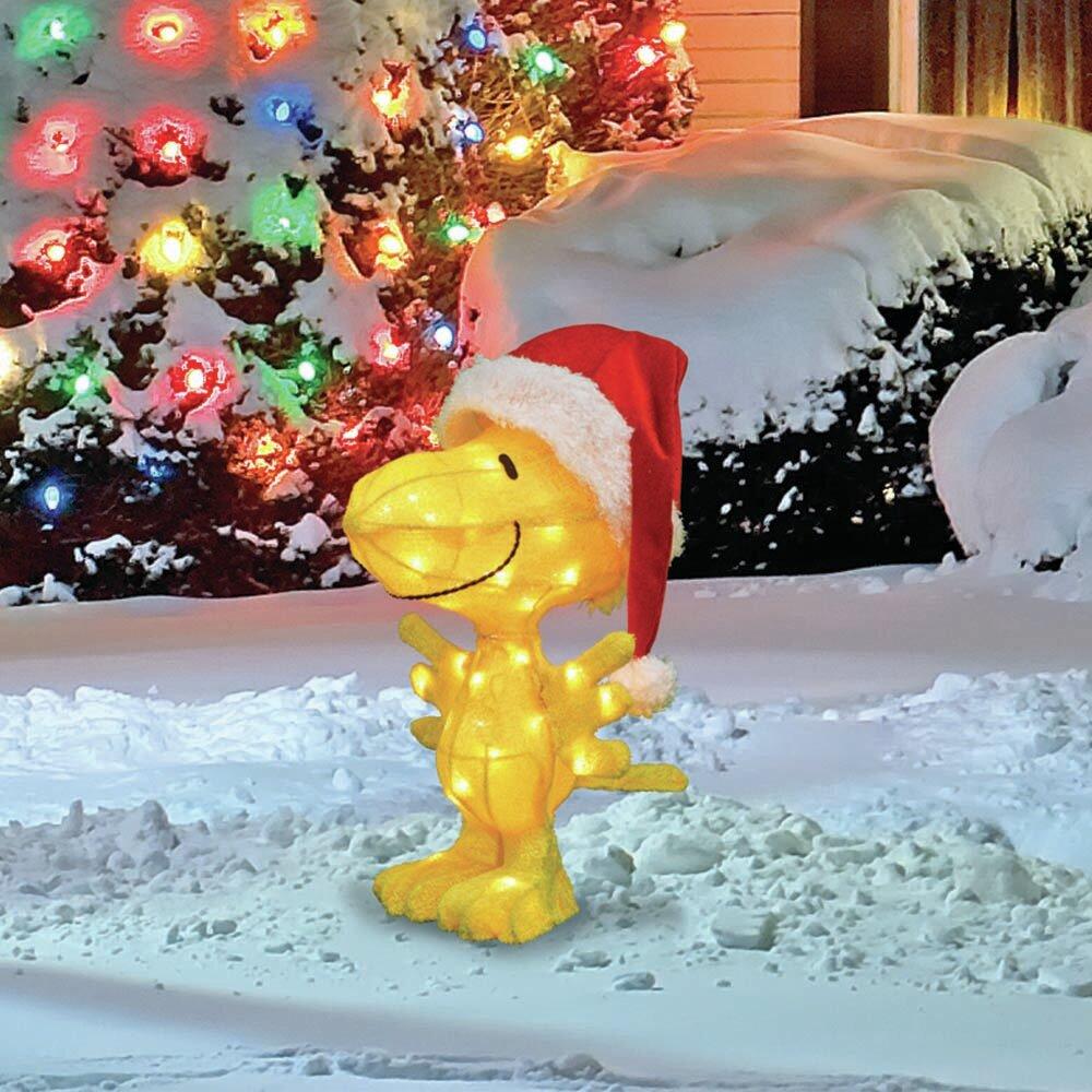 Pre Lit 3D Woodstock in Santa Hat Christmas Yard Art Decor Lighted Display