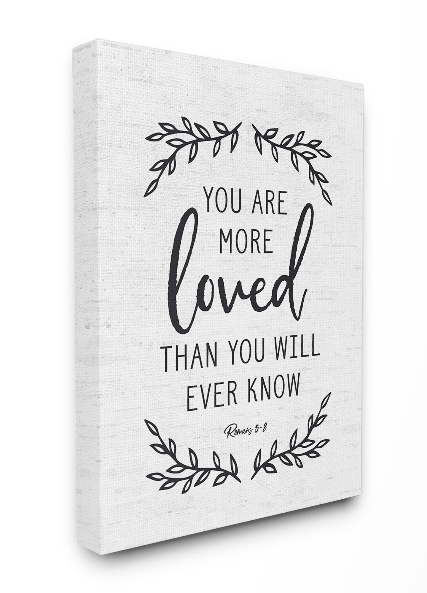 You Are More Loved Leaves Subtle Typography Graphic Art Print