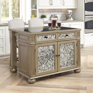 Erica Kitchen Island Set with Granite Top by Rosdorf Park
