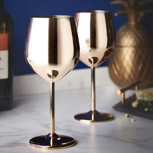 16 oz. Stainless Steel Stemmed Wine Glass (Set of 2)