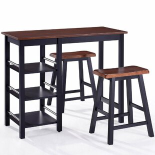 Scribner 3 Piece Solid Wood Dining Set Charlton Home