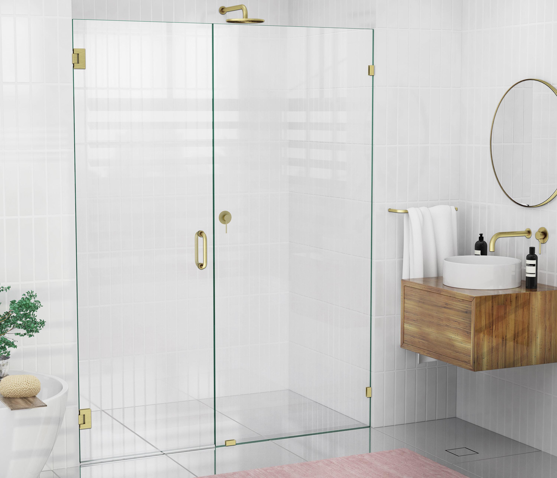 Glass Warehouse 58 X 78 Hinged Frameless Shower Door Reviews Wayfair