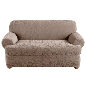 Stretch Jacquard Damask T-Cushion Loveseat S..