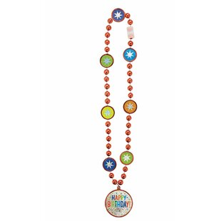 Balloon Bash Bead Necklace Plastic Disposable Party Favor (Set of 4)