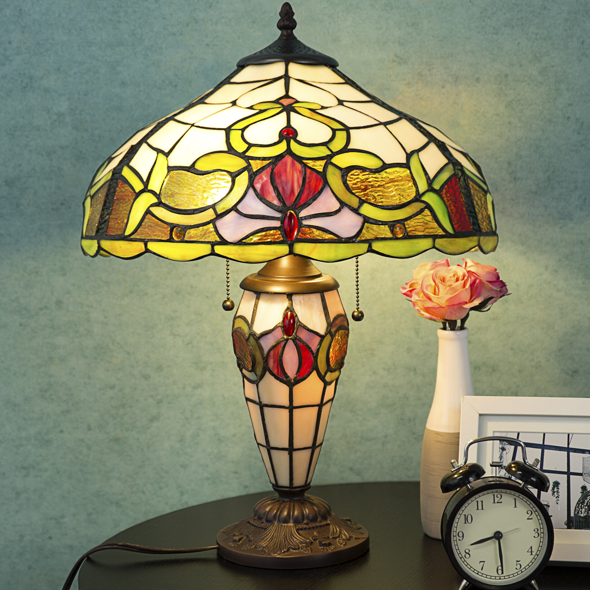 Astoria Grand Vine Tiffany Stained Glass Home Decor 21 Table Lamp