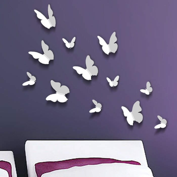 Walplus D Butterfly Wall Decal Reviews Wayfairca - Butterfly wall decals 3d