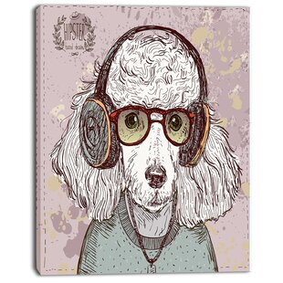 62f8f2952bc31  Funny Hipster Poodle with Glasses  Graphic Art on Wrapped Canvas