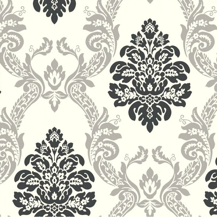 "Black and White Ogee 27' x 27"" Damask Embossed 3D Roll Wallpaper"