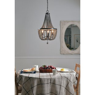 Louis Wood Bead 3-Light Empire Chandelier by World Menagerie