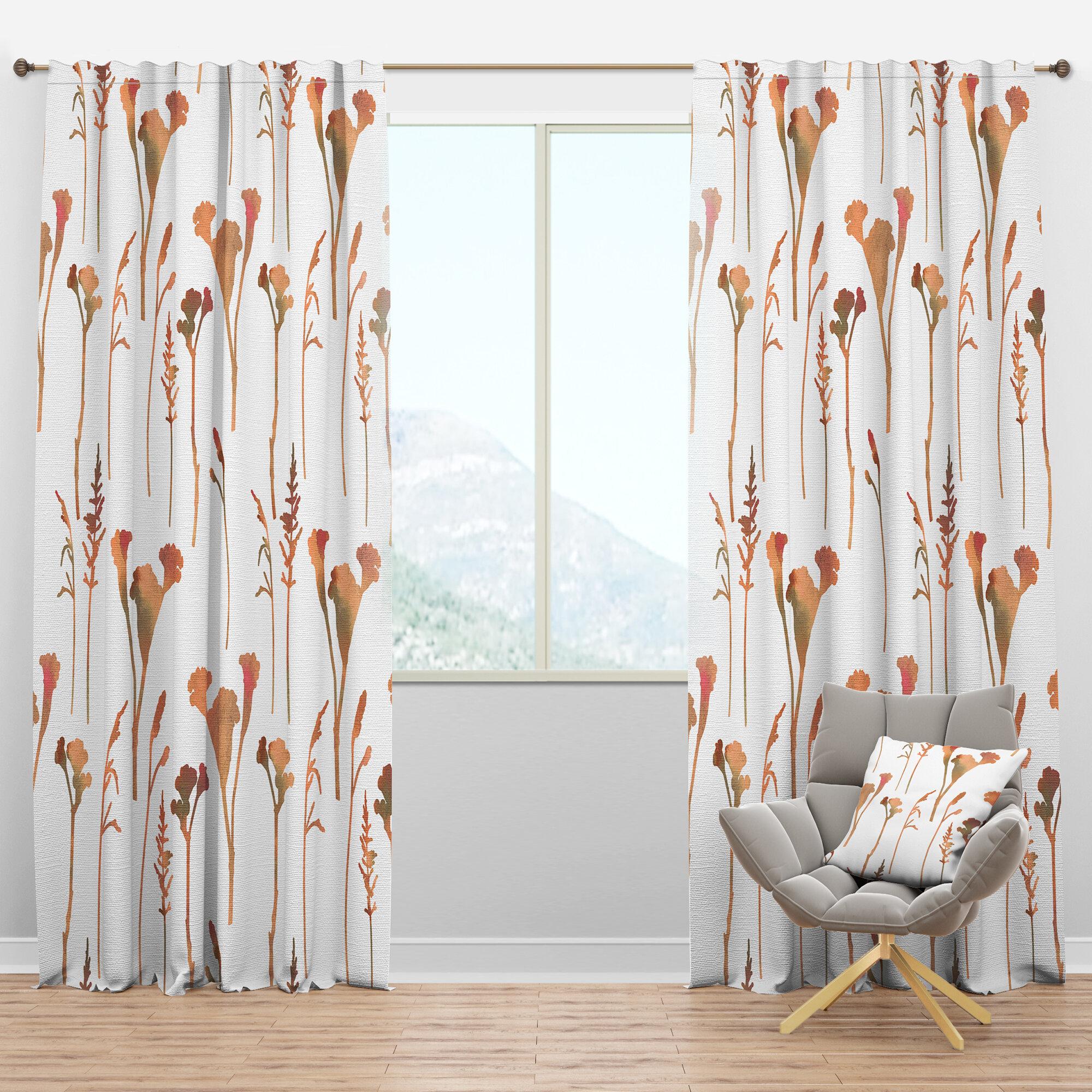 Designart Mid Century Handdrawn Floral Semi Sheer Thermal Rod Pocket Curtain Panels Wayfair