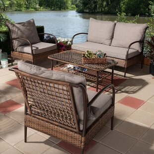 Pamela 4 Piece Rattan Sofa Seating Group with Cushions