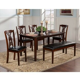 Laplant Rubberwood 5 Piece Solid Wood Dining Set