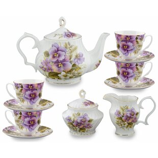 Abate 11 Piece Bone China Pansy Tea Set