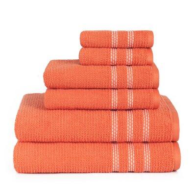 Boehm 100% Cotton Manor Jackson 6 Piece Bath Towel Set Breakwater Bay Color: Fusion Coral