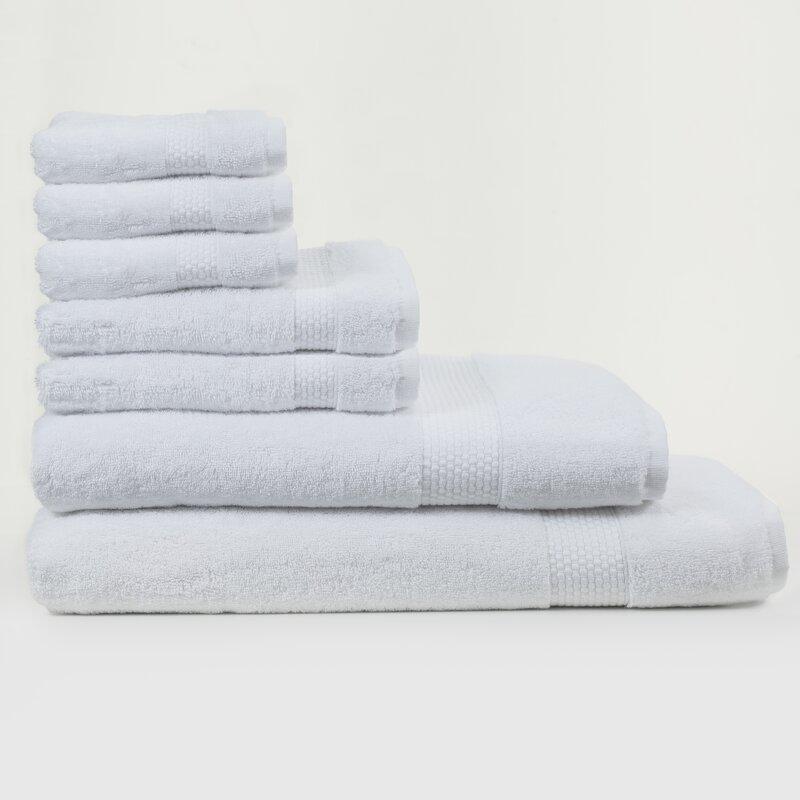 Canora Grey Al 7 Piece Turkish Cotton Bath Towel Set  Color: White