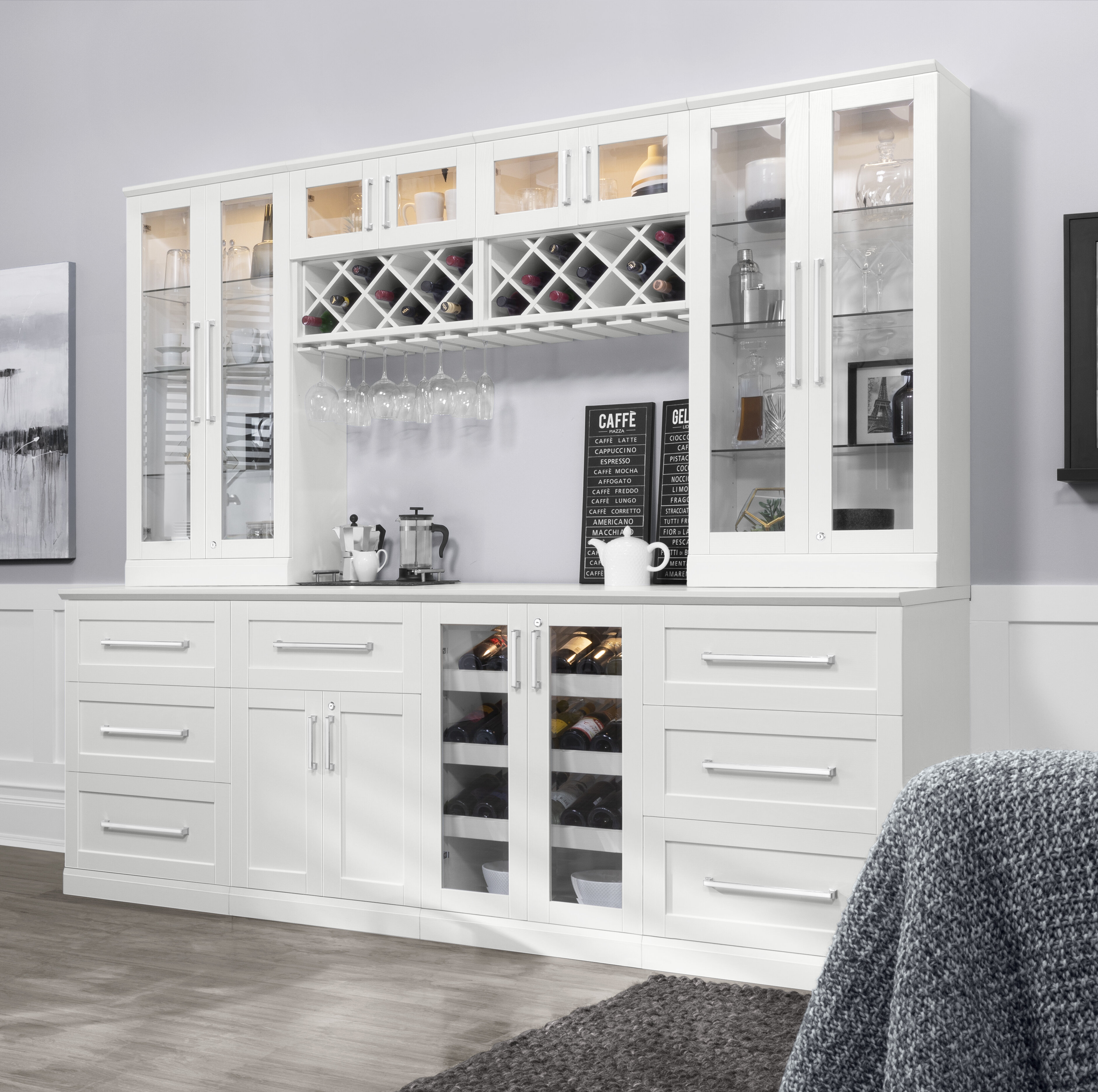 NewAge Products Home Bar Series Shaker Style Back Bar With Wine Storage    Wayfair
