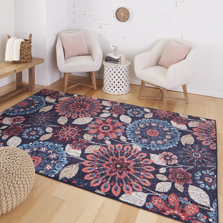 Red Barrel Studio Fedna Floral Navy Red Area Rug Reviews Wayfair