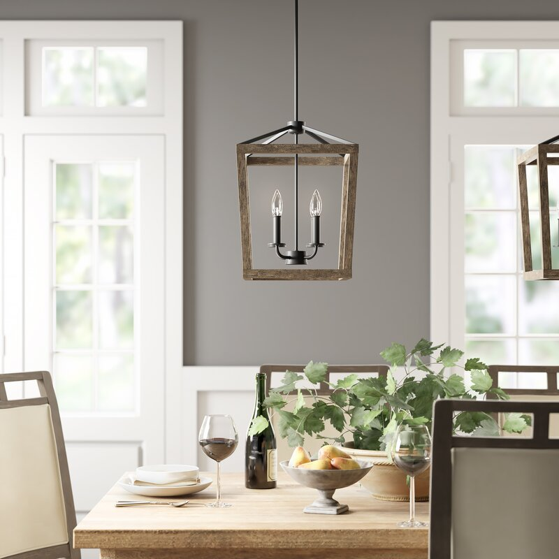 Birch Lane 4 Light Lantern Geometric Chandelier Reviews Wayfair