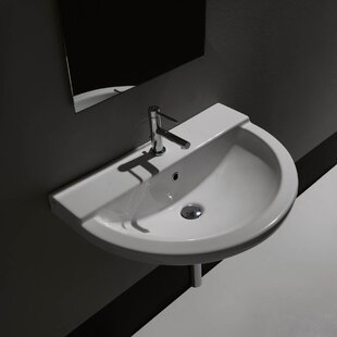 WS Bath Collections One Ceramic Ceramic U-Shaped Vessel Bathroom Sink with Overflow
