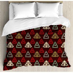 East Urban Home Ethnic Native American Aztec Folk Triangle Pattern Folk Style Funky Boho Tribal Art Print Duvet Set