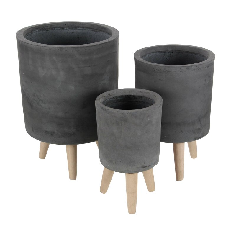 3 Piece Beech Wood Pot Planter Set Amp Reviews Allmodern