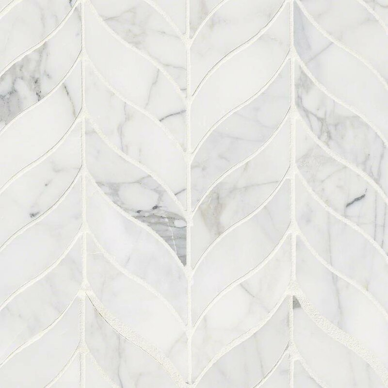 Calacatta Cressa Leaf Pattern Honed Marble Mosaic Tile in White