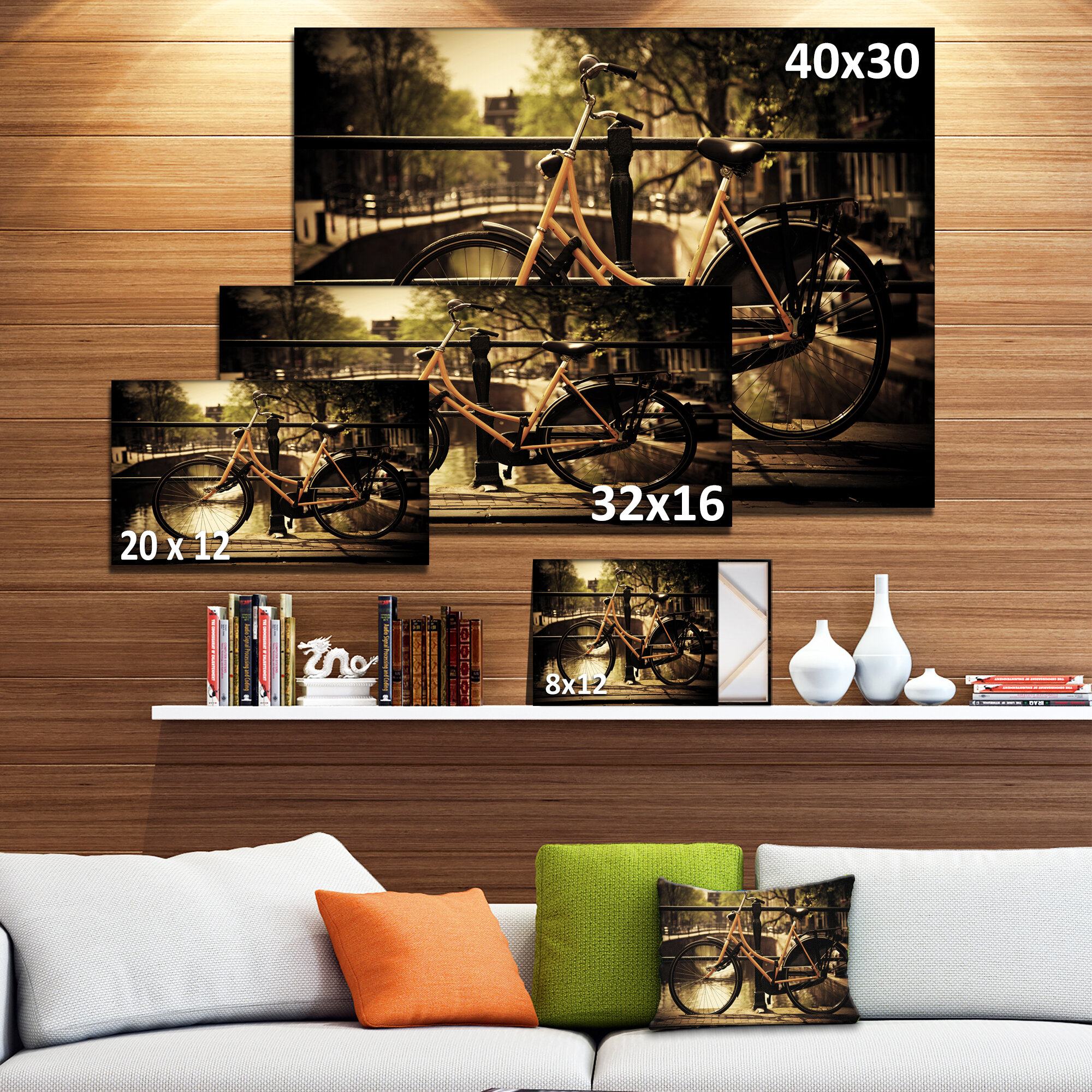 Designart retro bike over romantic canal bridge photographic print on wrapped canvas wayfair
