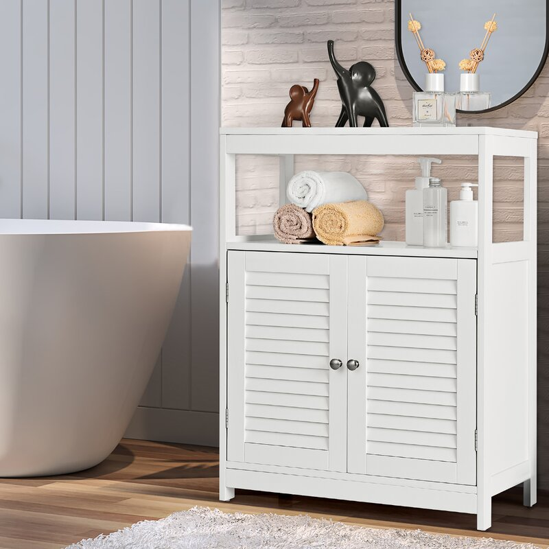 Breakwater Bay Harbuck 23 5 W X 31 5 H X 12 D Free Standing Bathroom Cabinet Wayfair