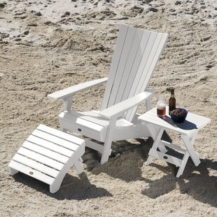 Pifer Plastic Adirondack Chair With Ottoman/Table By Breakwater Bay