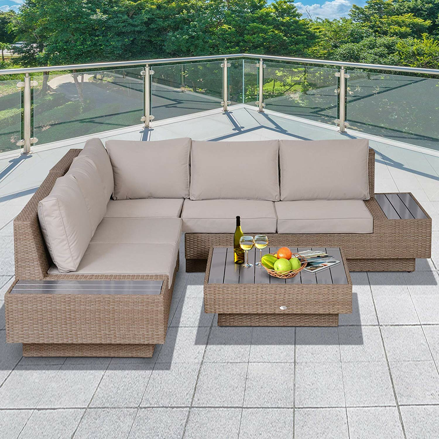 Sol 72 Outdoor Alta 5 Seater Rattan Corner Sofa Set Reviews Wayfair Co Uk