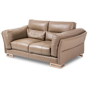 Mia Bella Monica Leather Loveseat by Mich..