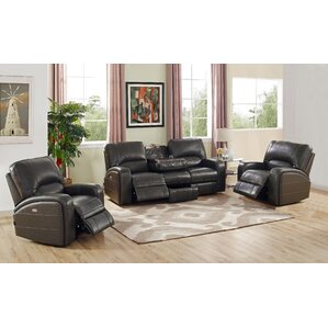 Woodhull Leather 3 Piece Living Room Set by Red Barrel Studio