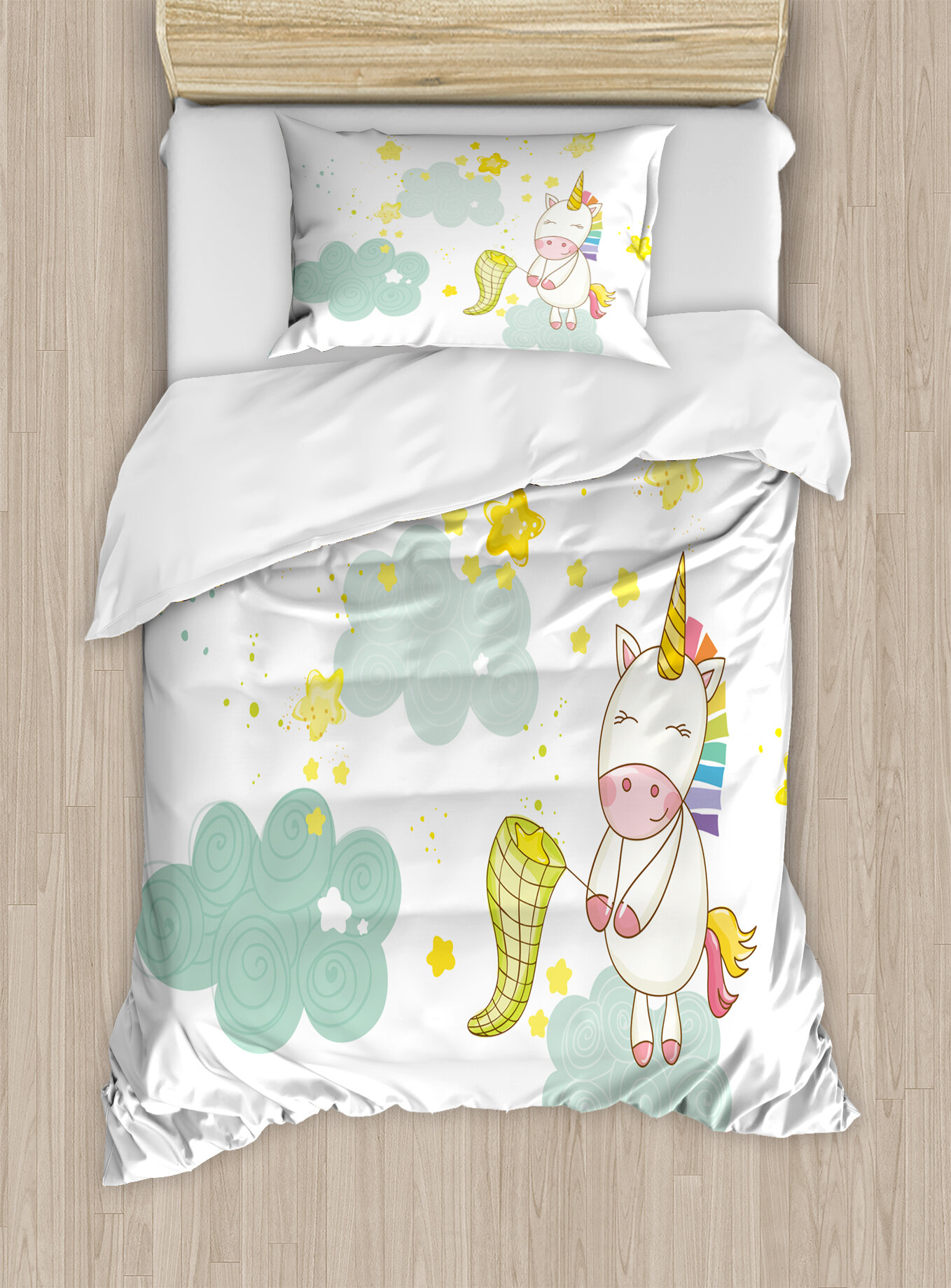 Ambesonne Unicorn Baby On Fluffy Clouds Duvet Cover Set Wayfair