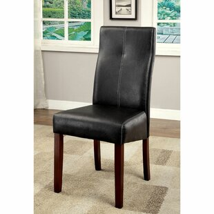 Kuse Upholstered Parsons Chair in Black Set of 2