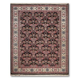 Affordable One-of-a-Kind Elzy Persian Traditional Hand-Knotted 8'8 x 11'7 Wool Black/Ivory/Pink Area Rug By Isabelline