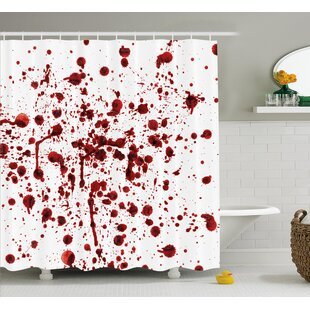 Bloody Splashes of Blood Scary Shower Curtain + Hooks