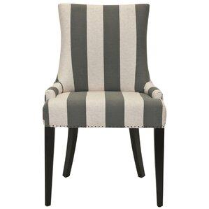 Alpha Centauri Upholstered Side Chair in Linen - Grey Stripe with Carpenter Nailheads by Brayden Studio
