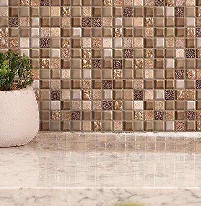 Treasure 12 X Gl Gem Mosaic Tile In Pecan Taupe