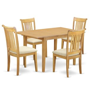 Balfor 5 Piece Extendable Breakfast Nook Solid Wood Dining Set