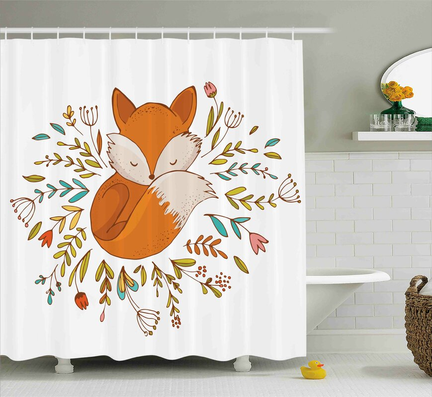 jefferson cute baby fox flowers shower curtain - Cute Shower Curtains