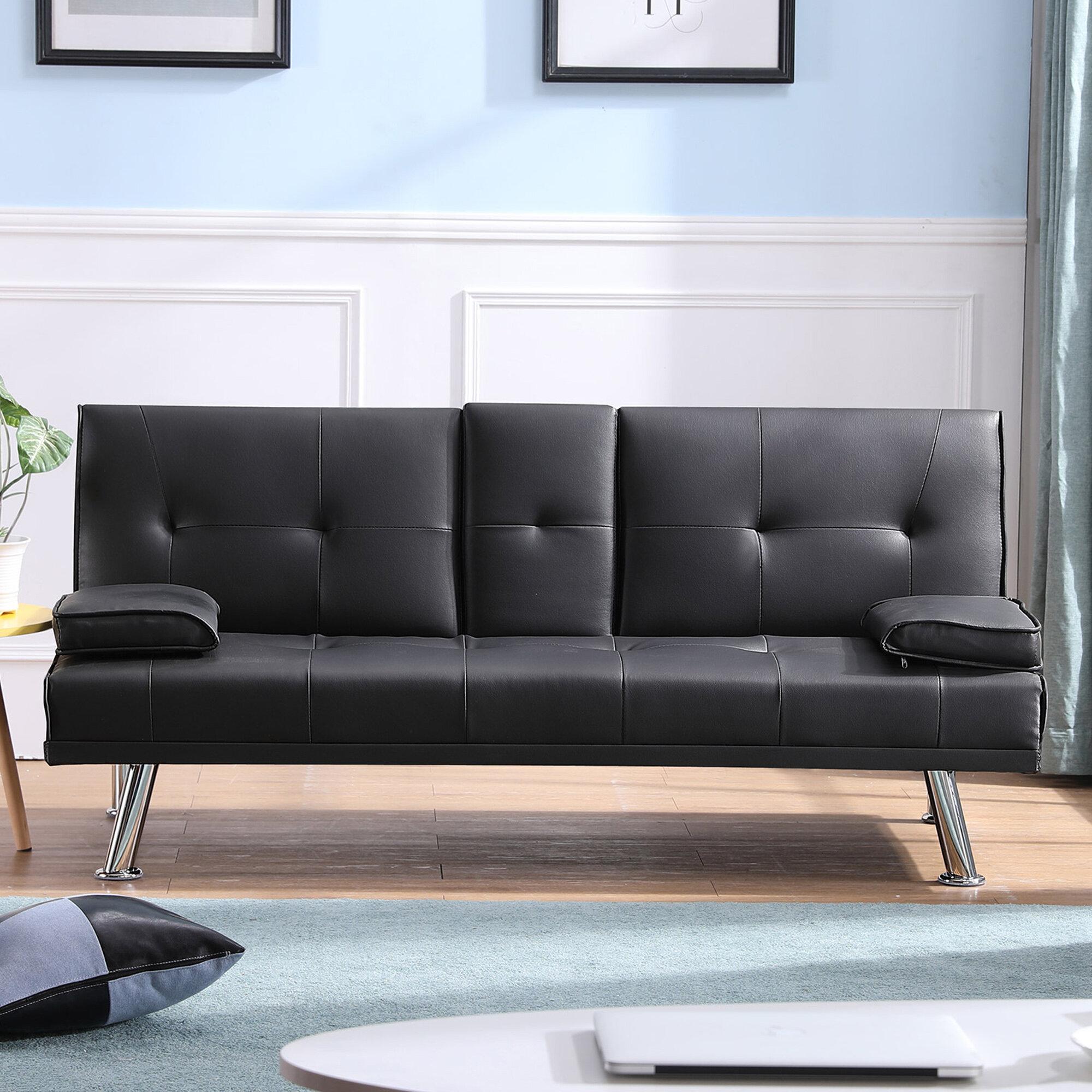 Orren Ellis Flaton Twin Or Smaller Tufted Back Convertible Sofa Wayfair