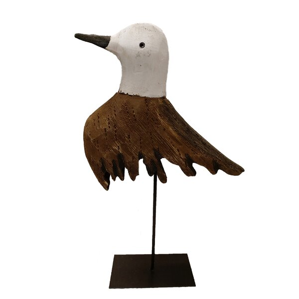 6.5 Inches Tall Nautical Decoration Hand Made Wooden Seagull Figurine