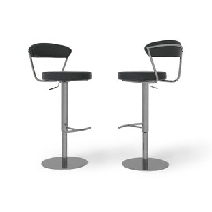 Gino Height Adjustable Swivel Bar Stool By Wade Logan
