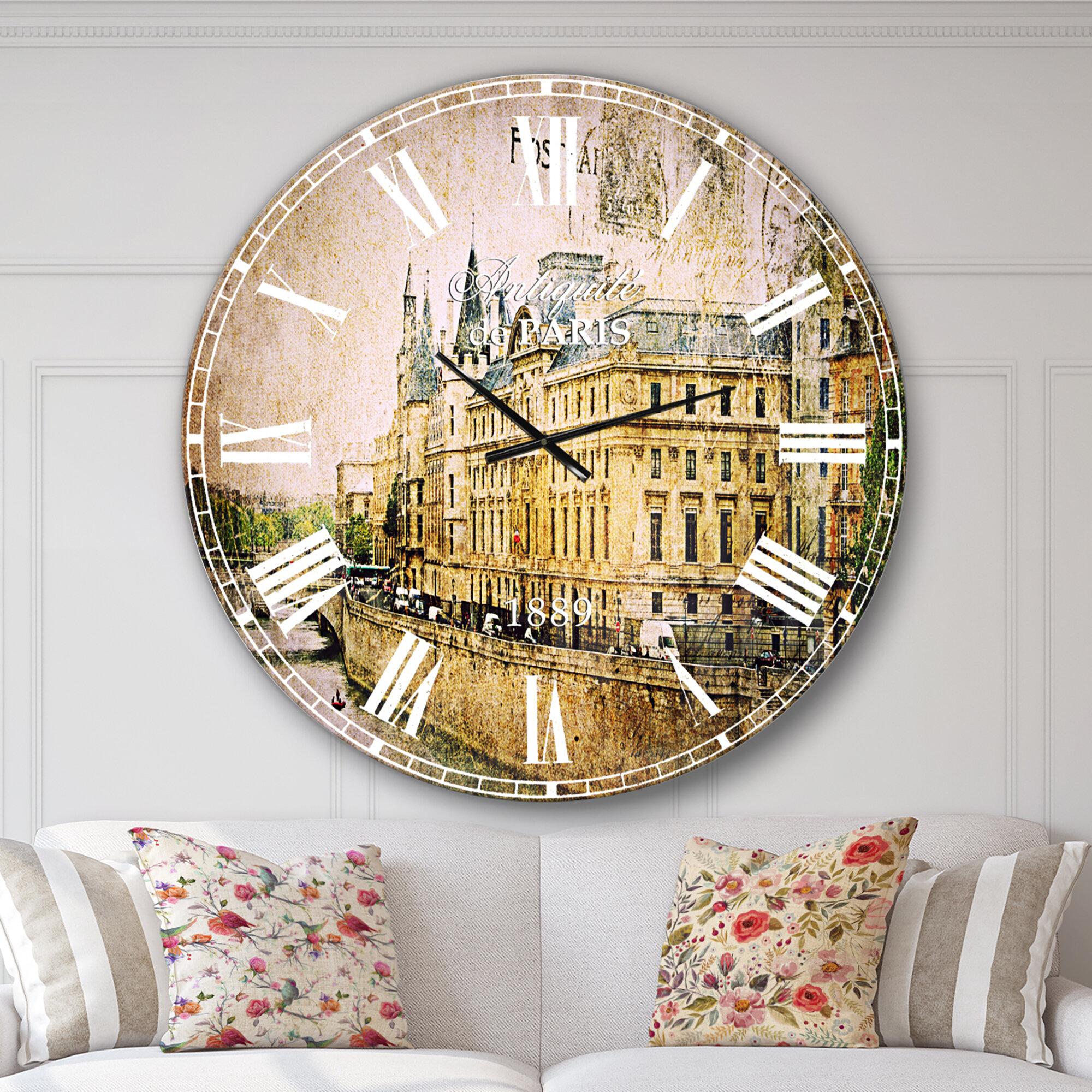 Farmhouse Oversized Abstract Old Parisian Cards Wall Clock