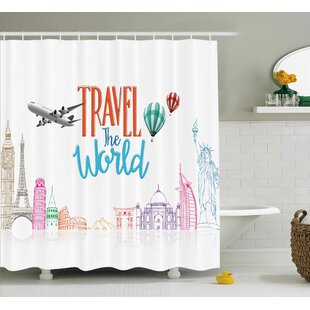 Compare Daniel Quote Travel The World Lettering With Around World Landmarks Balloons Artwork Image Shower Curtain By Ivy Bronx
